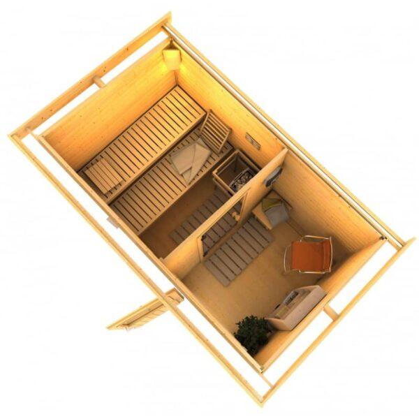 Sauna ext rieur 4 6 places bois massif quality spa for Sauna exterieur toit plat