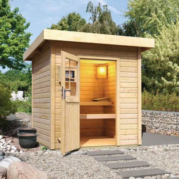 sauna 3 4 places exterieur bois massif quality spa vente de spas saunas hammams. Black Bedroom Furniture Sets. Home Design Ideas